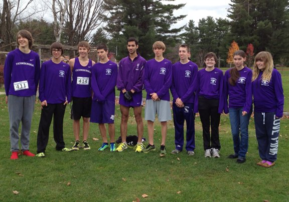 Representing Ticonderoga at the New York State Public High School Athletic Association championship race Nov. 9 at Elma Meadows will be, from left, Martin Glazer, Kody Parrott, Milo Stricker, Shawn Silliman, Javeed Nazir, Tyler Belden, Jacob Young, Hannah Herbst, Markie teRiele and Naomi Forkas.