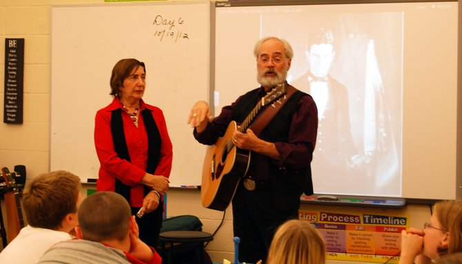 The folk duo Magpie, Greg Artzner and Terry Leonino visited the students at AuSable Forks Elementary School Oct. 12. 