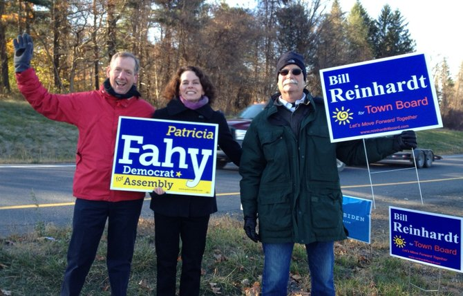 Democratic candidate for the 109th Assembly District Patricia Fahy does some last minute politicking in Bethlehem on Election Day with Bethlehem Town Supervisor John Clarkson and Democratic town board candidate Bill Reinhardt.  