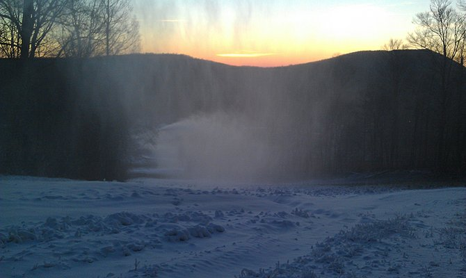 Sunrise on Tuesday, Nov. 6 after the first night of snowmaking at Gore Mountain.