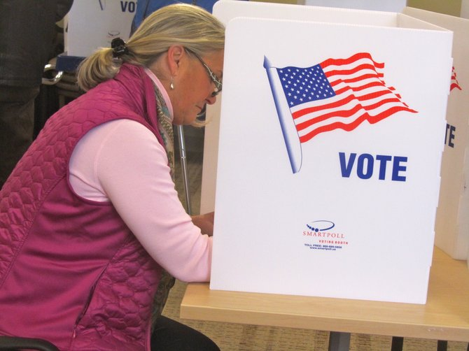 Ann Marie Buerkle votes at Onondaga Free Library on Election Day.