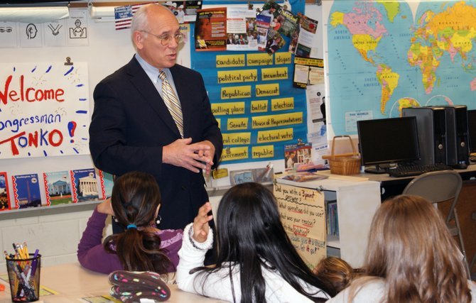 Paul Tonko spent a portion of Election Day visiting fifth-grade students Pinewood Intermediate School and talked about the importance of voting and encouraged students to make smart choices.