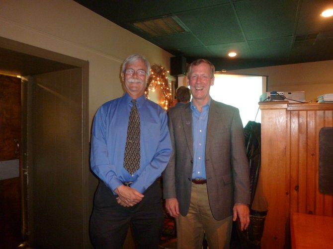 Democratic town board candidate Bill Reinhardt with Supervisor John Clarkson on election night, Tuesday, Nov. 6. 