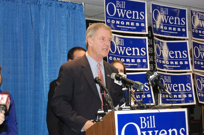 Congressman Bill Owens addresses his supporters after hearing that his challenger Matt Doheny had conceded the race for the 21st congressional district.