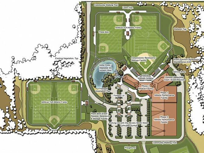 The map of Phase 1 of the Victory Sports Medicine 'Victory Campus' project, which would include medical offices, indoor athletic facilities and four multi-use outdoor athletic fields.