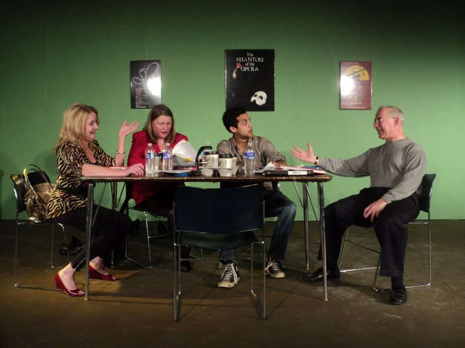"""Beatrice (Nora O'Dea), Lucinda (Heather Roach) and Jerry (Maxwel Anderson) react to Curt's (Lanny Freshman) demands for rewrites in CNY Playhouse's """"Don't Talk to the Actors."""" It runs through Nov. 24 at Shoppingtown Mall."""
