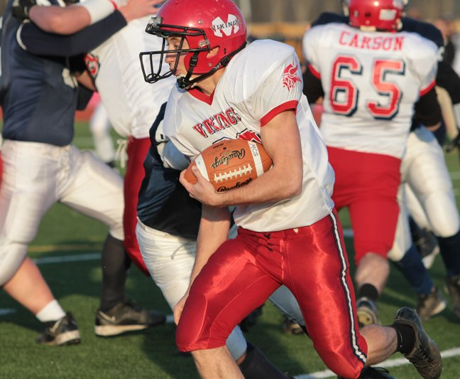 Arto Nadeau led Moriah with 32 rushing yards, but  Vikings lost to Rensselaer, 50-0, in the quarterfinals of the New York State Public High School Athletic Association Class D football tournament Nov. 10 in Schuylerville.