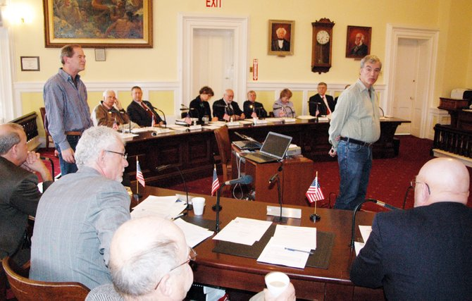 Dave Mason and Jim Herman of Adirondack Futures address members of the Essex County Board of Supervisors Nov. 5.
