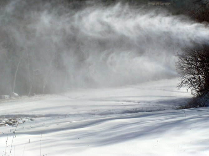 Guns blow snow onto Whiteface Mountain's Lower Valley Trail