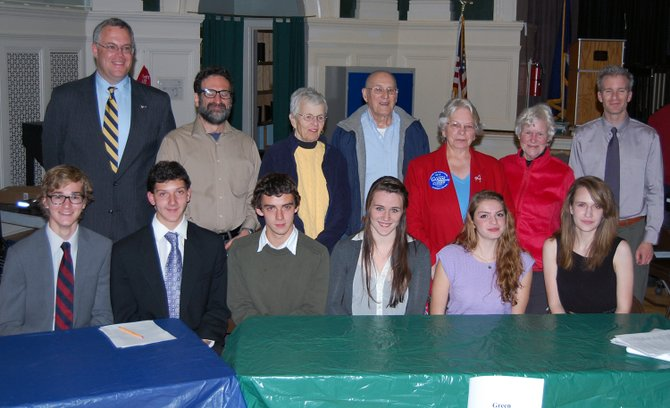 Members of the KCS senior class and members of the area political parties hold forum. 
