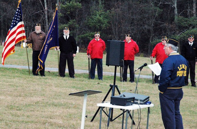 Dave Blades addressed the audience during Veteran's Day ceremonies held at the Essex County Cemetery in Wadhams.