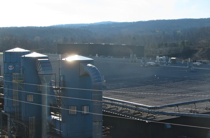 Smoke caused by work on the Stickley Factory&#39;s roof led to the building being evacuated at around 11 a.m. today. 