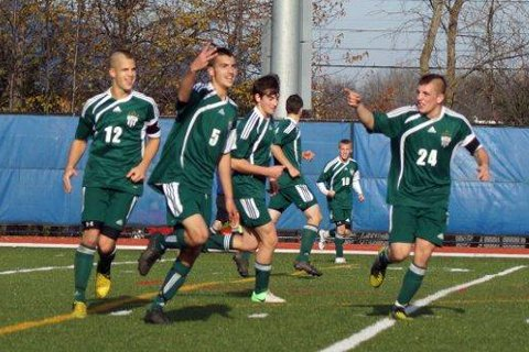Josh Barriere celebrates his third goal of the game against Fort Ann in the NYSPHSAA Class D championship game. Is this the best team that the storied Chazy soccer program has ever seen?