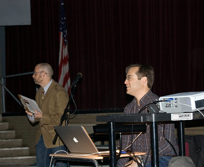 Ben Coccio, at right, co-writer for The Place Beyond the Pines, visited Niskayuna High School, his alma mater, recently to speak with students there about his experiences in the film industry.