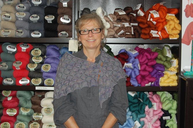 Sue Coonrod at her business, Plattsburgh Yarn & Gifts.