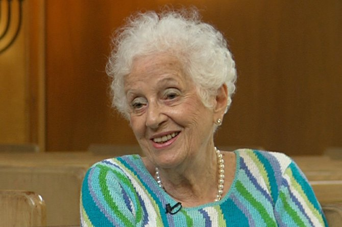 """Annette Nadelson Lazarus of Middlebury is interviewed in """"Little Jerusalem,"""" Vermont Public Television's documentary about the traditional Jewish neighborhood in Burlington."""
