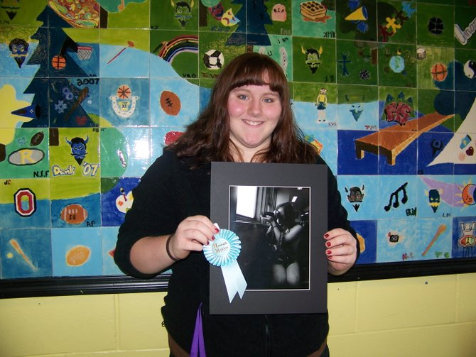 PHS student Hayley Mead received Honorable Mention for her art work by a judge at the Chaffee Art Center.
