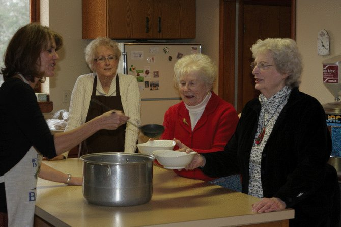 First Presbyterian Church of Cazenovia parishioners Kristin Curtis, left, Diana Markovitz, Janet McCobb and Mary Smith sample some of the homemade soups planned to be featured in the 2012 Soup and Dessert Café on the evening of Nov. 30 at the church.