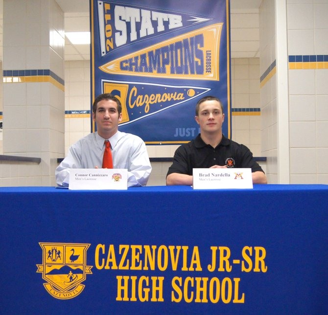 Cazenovia High School seniors Connor Cannizzaro, left, and Brad Nardella both signed letters of intent to play lacrosse at their respective colleges next year.