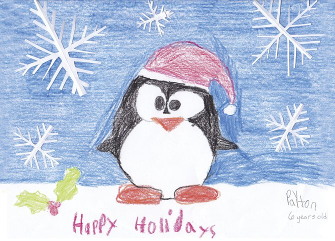 Payton Gordinier, 6, of Slingerlands, designed a holiday card featuring penguins that will be sold to raise money for the Cancer Institute and the Jimmy Fund Clinic for leukemia in Boston.
