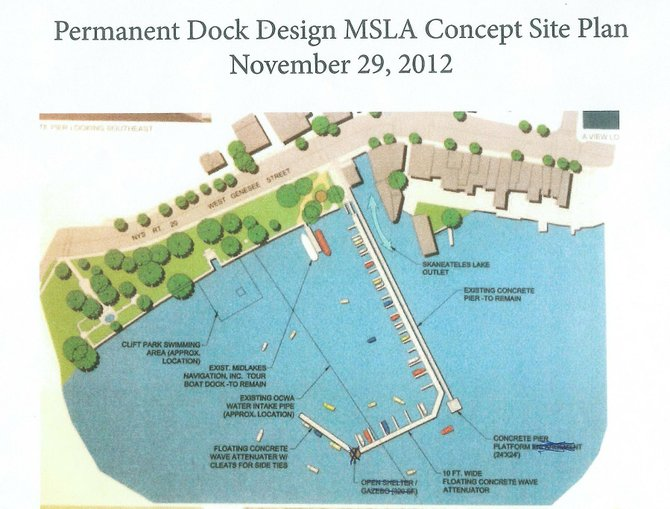 The permanent dock design concept plan was presented to the Skaneateles Village Board at its Nov. 29 meeting.