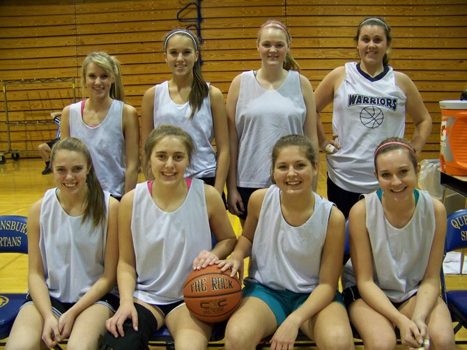 The 2012-13 Lake George High School Girls Basketball Team includes (front, left to right): Mackenzie Baertschi, Hahnah Saroff, Emily Borgh, Vivian Jaworsky, (row 2): Cassie Sipowicz, Cora Connolly, Kenzie Bennett and Reba Tracy.