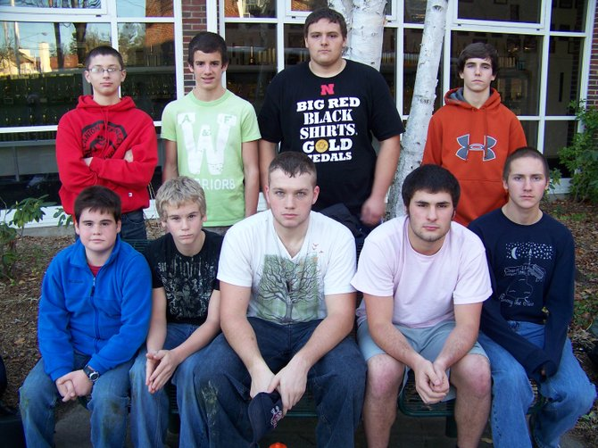 The 2012-13 Lake George High School Wrestling Team includes (front, left to right): Jacob Baird, Gideon Jardine, Patrick Barber, Thomas Clark, Jamie Dolan, (rear): Colin Clark, Dylan Bachem, Adam Agresta, and Shane McCabe. (Not pictured): Patrick Witherbee, Dan Jardine and Lloyd Watkin.