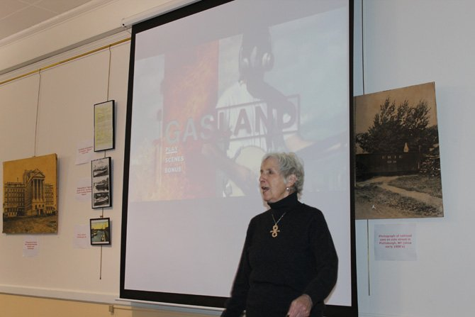 "League of Women Voters President Sally Sears-Mack introduced the film ""Gasland"" at the Plattsburgh Public Library recently."