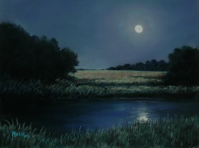 """Full Moon,"" by Adriana Meiss. Pastel."