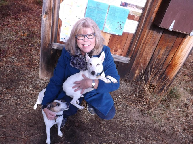 Deb Hall was hiking recently with her dogs Nacho and Nugget when Nugget's foot was caught in a hunting trap.