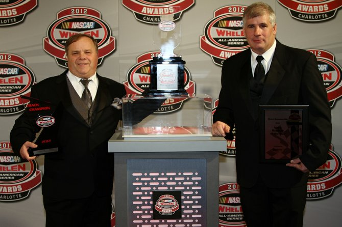 Devil's Bowl Speedway drivers Ron Proctor (left) of Charlton, N.Y., and Vince Quenneville, Jr. (right) of Brandon were honored at the NASCAR Whelen All-American Series 2012 Awards in Charlotte, N.C.
