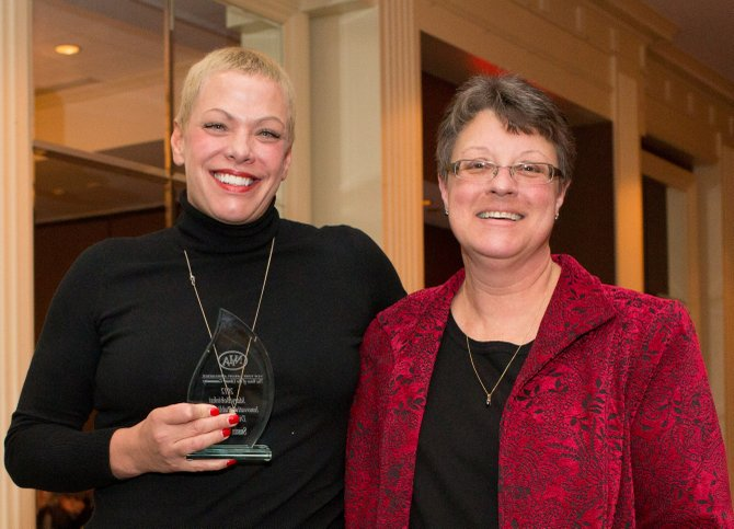 Sue Considine, executive director of the Fayetteville Free Library, receives the Mary Bobinski Innovative Public Library Director award at the New York Library Association Conference in November.  Considine, left, is pictured with Marcia Eggleston, past president of NYLA.