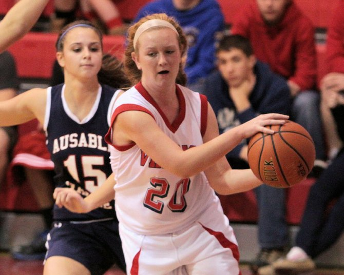 Caitlyn Pelkey and the Moriah Vikings fell to AuSable Valley, 45-23, in Champlain Valley Athletic Conference girls basketball play Dec. 12.
