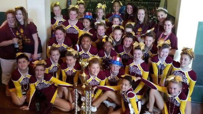 Colonie Pop Warner Pee Wee Cheerleading Team won first place in their division at the National Cheer and Dance Competition held at the ESPN Wild World of Sports Complex in Disney World, Florida.