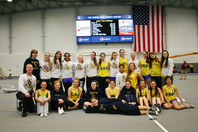 The Cazenovia girls indoor track team, shown above after their second consecutive Section III title win last year, are gearing up for what they hope will be another championship season this year.  The ladies hope to conduct the campaign in new uniforms as they are seeking community support to replace their old uniforms which were originally purchased in 1999.