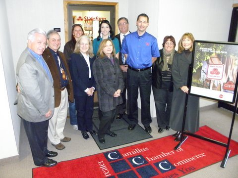 Jeff Dukat, of State Farm Insurance, received a Red Carpet welcome from the Greater Camillus Chamber of Commerce.
