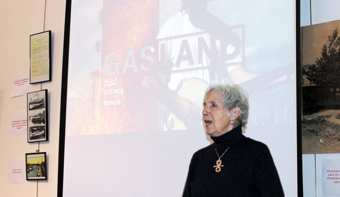 League of Women Voters President Sally Sears-Mack introduced the film Gasland at the Plattsburgh Public Library recently.