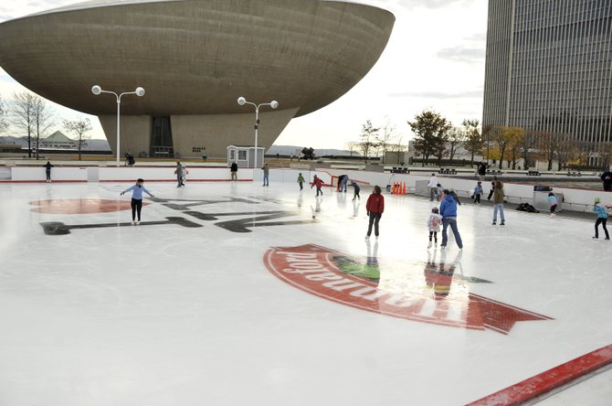 Skating is free at the Empire State Plaza ice rink, and on Fridays, skaters can enjoy free skate rentals courtesy of Hannaford Supermarkets.