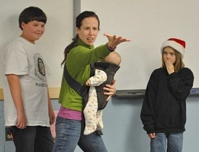 Opera Theatre of Weston choreographer Ashley Hensel-Browning working with students from Dorset Elementary School during the tour of the Storybook Opera: Tropical Storm Irene Project. The troupe performs at the Paramount Theatre Jan. 6.