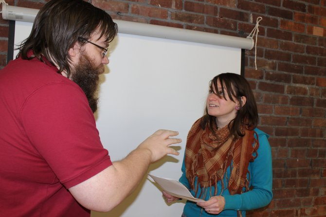 Filmmaker Jason Torrance helps Kaitlyn Donovan rehearse for her role as Dorothy, one of the main characters in Torrances new film, A Promise Made of Wax.