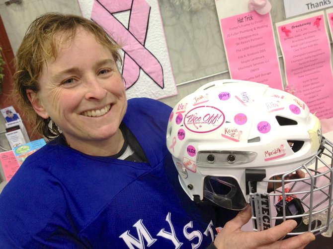 "The Middlebury Otters and the Middlebury Mystix, two women's community ice hockey teams, will host the 14th annual ""Face Off Against Breast Cancer"" hockey tournament on Saturday and Sunday, Jan. 19-20, at the Memorial Sports Center in Middlebury. Pictured: Mystix player Sally Ober."