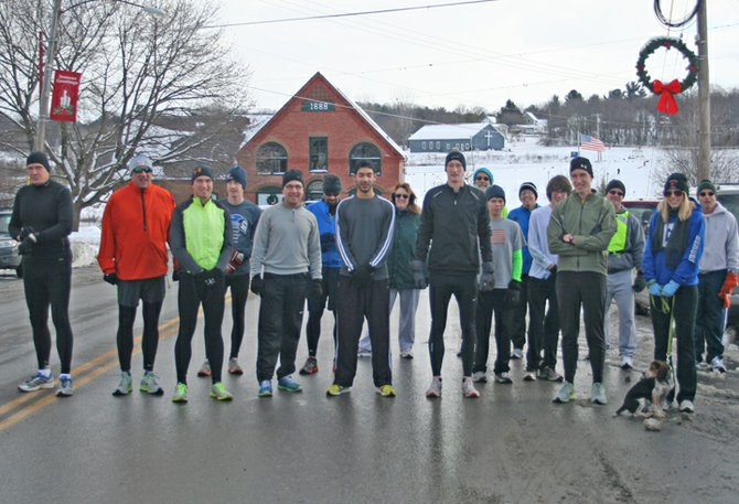 The 11th annual Resolution Run was held in Ticonderoga Jan. 1. Jesse Berube, a former Ti High track and cross country stalwart, covered the 5 kilometer course in 16 minutes, 46 seconds to win.
