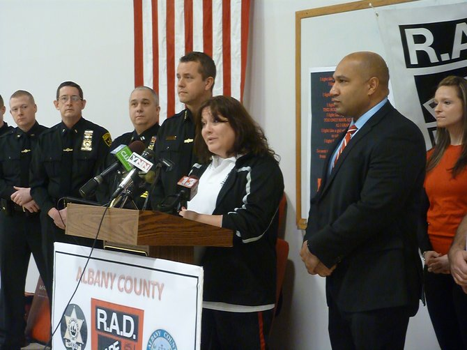 Albany County Sheriff Craig Apple and District Attorney David Soares announces the creation of the new county Rape Aggression Defense Team with coordinator Cindy Forte. The program will offer free defense classes for women.