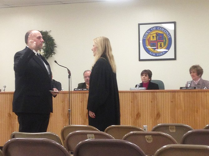 Brian Haak is sworn in as one of the newest Colonie Town Board members.