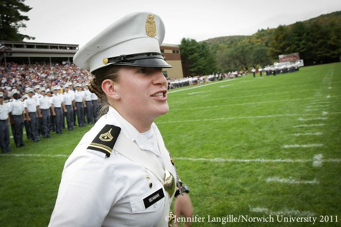 Warrensburg High School graduate Audrey Seaman  shouts a command to freshman cadets at Norwich University. As a Cadet Lt. Colonel at Norwich, she is responsible for the military training of about 300 other students. Seaman is a member of the Norwich University Regimental Band, which was selected among others to perform in Obama's inaugural ceremonies Jan. 21.