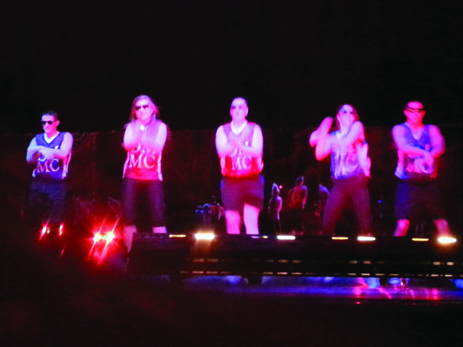 "5 of the 2013 Dance Marathon Masters of Ceremony perform a dance to ""Gagnum Style"" on Jan 9."