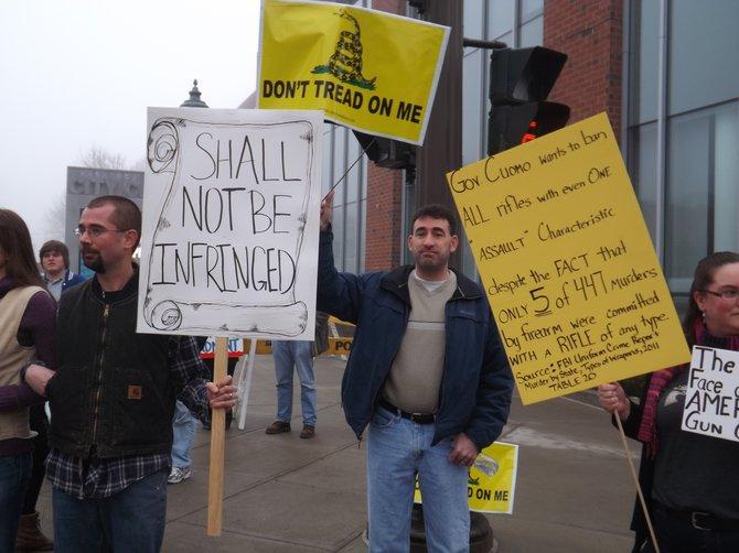 Protesters at Saratoga Arms Fair