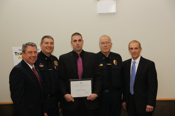 Manlius Town Supervisor, Ed Theobald, Chief of Police of Baldwinsville, Mike Lefancheck, officer Ben Kapusta, Chief Fran Marlowe and AAA Wally Smith