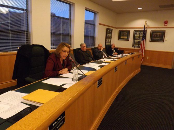 Supervisor Joanne Yepsen speaks out before Maplewood Manor vote. Photo by Marci Revette