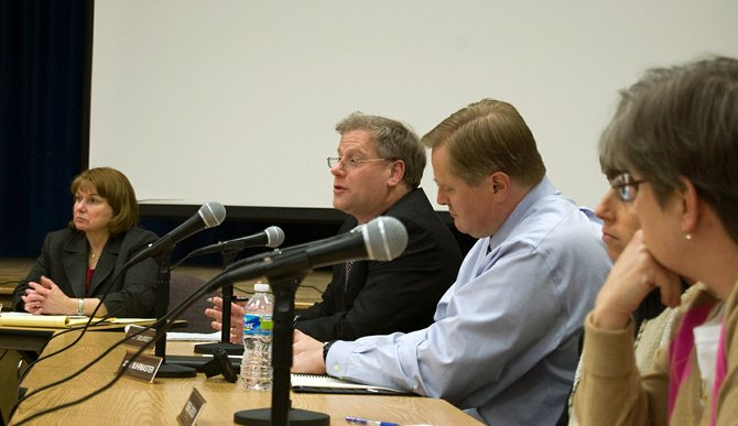 Matthew Bourgeois (second from left), assistant superintendent for Business at Niskayuna schools, addresses a question from an audience member at the districts first budget forum.